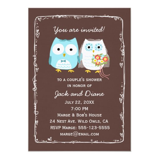 """Wedding Invitation Message From Bride And Groom: Owls Wedding Shower For Bride And Groom 5"""" X 7"""" Invitation"""