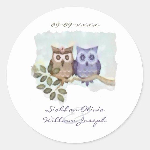 Owls Wedding Round Sticker