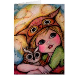Owlsome Fun - Big Eyes And Moonbeams Greeting Card