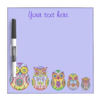 Owlushka owl family dry erase board