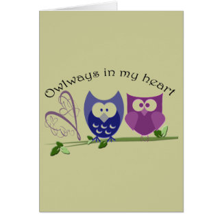 Owlways in my heart, cute Owl Gifts Note Card