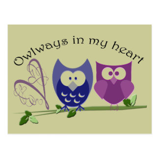 Owlways in my heart, cute Owl Gifts Postcard