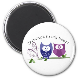 Owlways in my heart, cute Owls romantic gifts 6 Cm Round Magnet