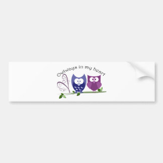 Owlways in my heart, cute Owls romantic gifts Bumper Sticker