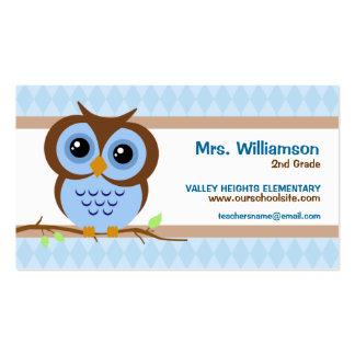 Owly Blue Teacher Business Cards
