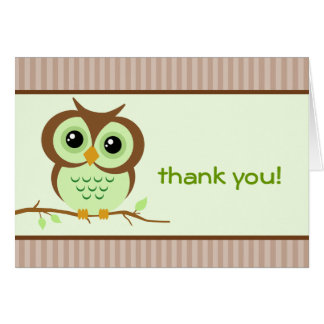 Owly Green Thank You Card