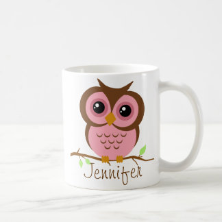 Owly Pink Personalized Basic White Mug