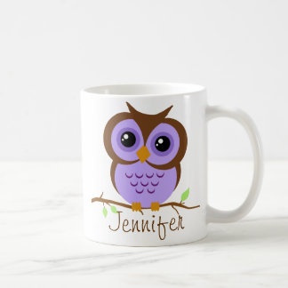 Owly Purple Personalized Coffee Mug