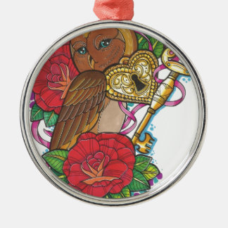 Owly Silver-Colored Round Decoration