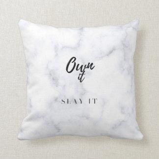 Own It Slay It Marble Cushion