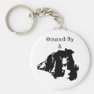 Owned By A Border Collie Cute Dog Key Ring