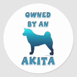 Owned by an Akita Classic Round Sticker