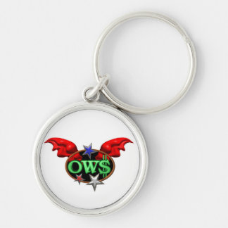 OWS Operation Wall Street Join the movement Silver-Colored Round Key Ring