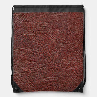 Ox Blood Leather Fine Grain Burnt Red Brown bag Drawstring Bags