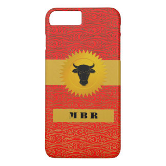 Ox Chinese Zodiac Animal with Monogram in Red iPhone 7 Plus Case