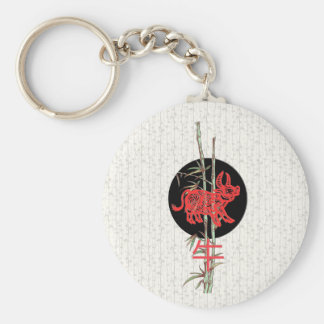 Ox (chinese zodiac) basic round button key ring