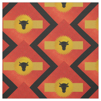 Ox Chinese Zodiac | Red, Gold and Black Fabric