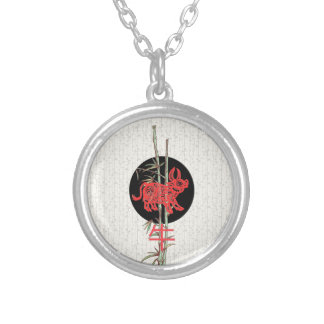 Ox (chinese zodiac) round pendant necklace