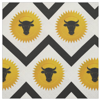 Ox Chinese Zodiac | White, Gold and Black Fabric