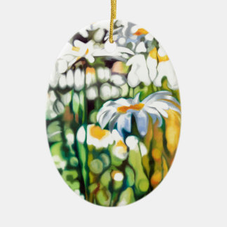 Ox-eye Daisy Ceramic Oval Decoration