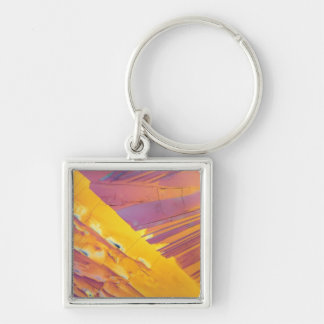 Oxalic Acid Crystals Silver-Colored Square Key Ring