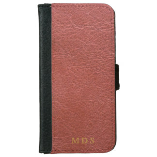 Oxblood Faux Leather with custom initials iPhone 6 Wallet Case
