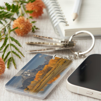 oxbow bend in fall colors Double-Sided rectangular acrylic key ring