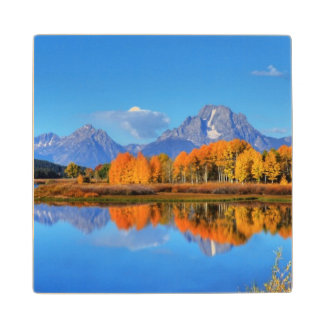 Oxbow Bend Sunrise Wood Coaster