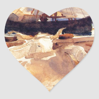 Oxen on the Beach at Baia by John Singer Sargent Heart Sticker