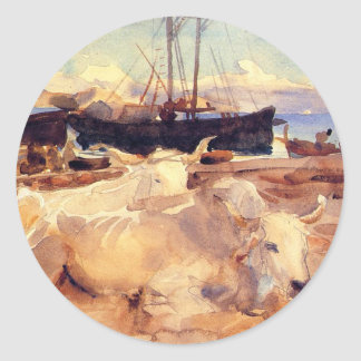 Oxen on the Beach at Baia by John Singer Sargent Round Sticker