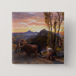 Oxen Ploughing at Sunset (w/c on paper) 15 Cm Square Badge