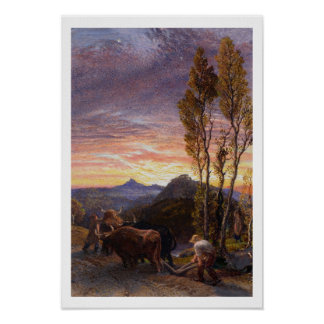 Oxen Ploughing at Sunset (w/c on paper) Poster