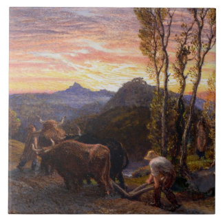 Oxen Ploughing at Sunset (w/c on paper) Tile