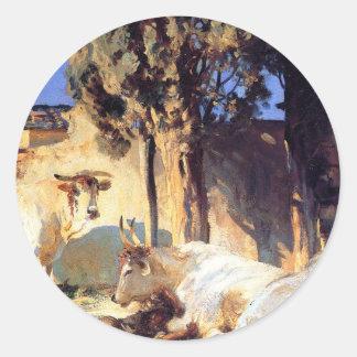 Oxen Resting by John Singer Sargent Round Sticker