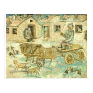 Oxen. Scene from the Life of Savages Pavel Filonov Postcard
