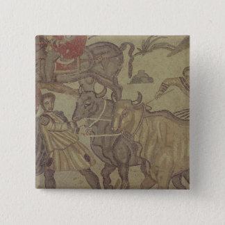Oxen transporting water, Roman mosaic 15 Cm Square Badge
