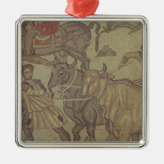 Oxen transporting water, Roman mosaic Christmas Ornament
