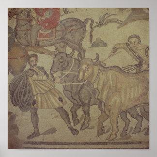 Oxen transporting water, Roman mosaic Poster