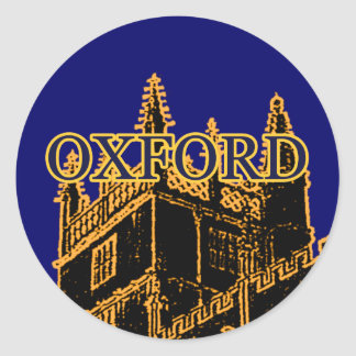 Oxford England 1986 Building Spirals Gold Round Sticker