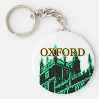 Oxford England 1986 Building Spirals Green Basic Round Button Key Ring