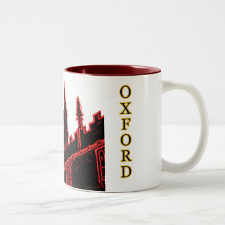 Oxford England 1986 Building Spirals Red Coffee Mugs