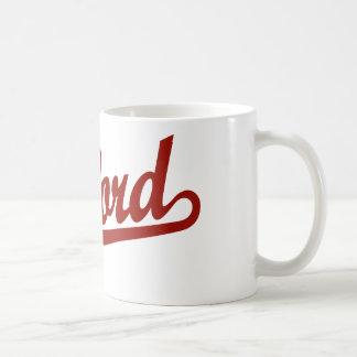 Oxford script logo in red mugs