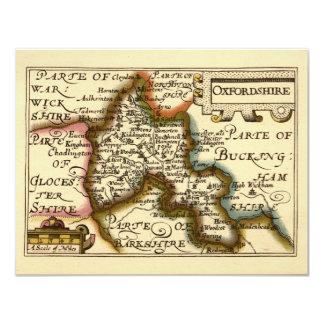 Oxfordshire County Map, England 11 Cm X 14 Cm Invitation Card