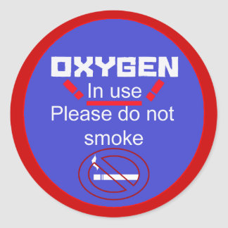 oxygen alert round sticker