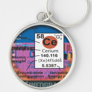 Oxygentees Cerium Silver-Colored Round Key Ring