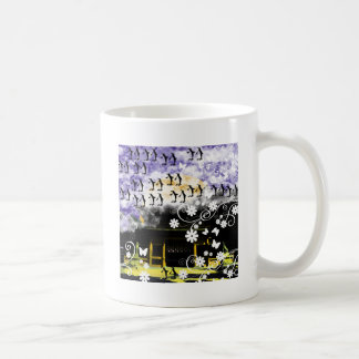Oyama 祇 shrine and flower and penguin basic white mug