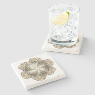 Oyster Flower Marble Coaster - Design B