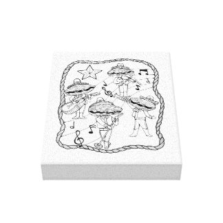 Oyster Mariachi Band Line Art Design Canvas Print