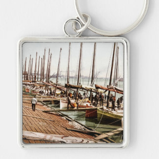 Oyster Smacks at the Levee New Orleans 1900 Silver-Colored Square Key Ring