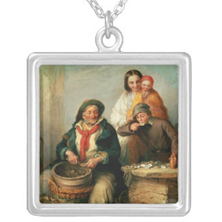Oysters, Young Sir? Square Pendant Necklace